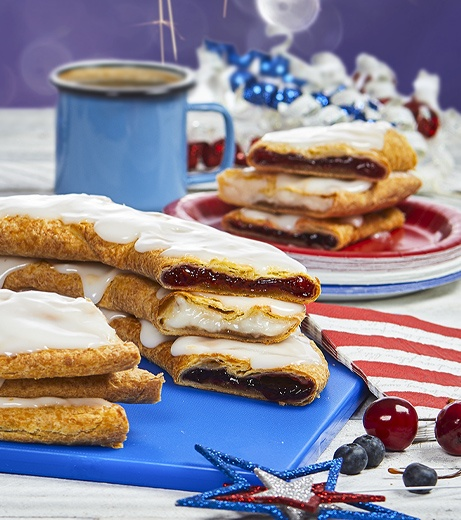 three kringles stacked on top of one another with red, white, and blue decorations